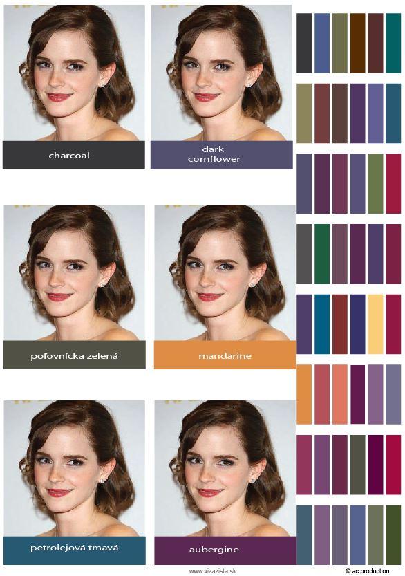 Farebný typ Emmy Watson - Tmavá jeseň, virtuálna farebná typológia