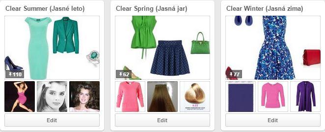 Jasné farebné typy na Pinterest