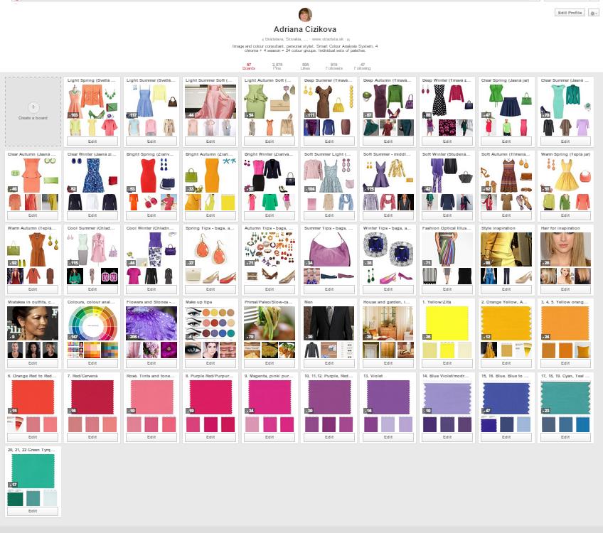 ako na Pinterest - ukážka môjho profilu s tipmy na nákupy, ladenie farieb...