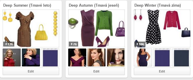 Tmavé farebné typy na Pinterest